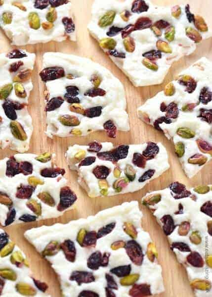 Simple and healthy Cranberry Pistachio Yogurt Bark - easy healthy snack idea the whole family will love from Eats Amazing UK