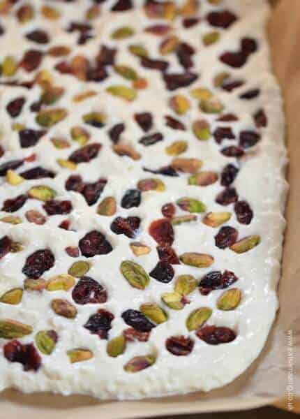 Simple and healthy Cranberry Pistachio Yogurt Bark - easy healthy snack recipe the whole family will love from Eats Amazing UK