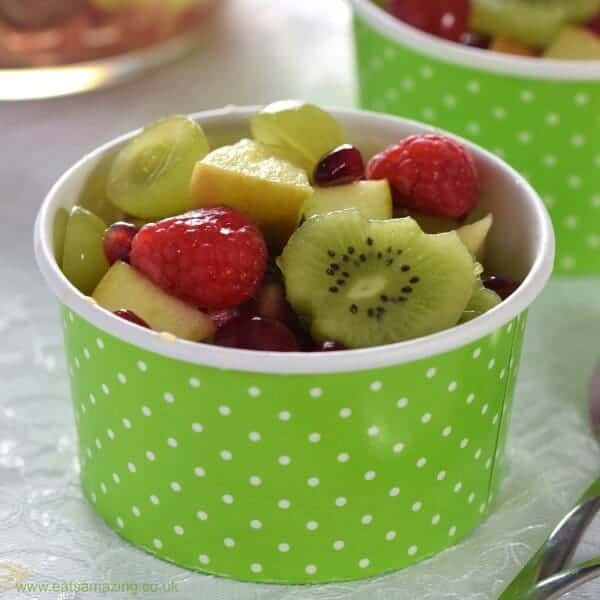 Simple green and red festive fruit salad recipe - fun and healthy colour themed Christmas dessert or snack from Eats Amazing UK