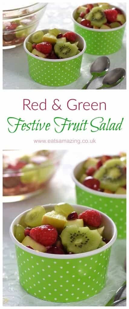 Simple green and red fruit salad recipe for Christmas - fun and healthy colour themed festive dessert or snack from Eats Amazing UK  #funfood #kidsfood #Christmas #Christmasfood #cookingwithkids #healthykids #fruitsalad #fruit #breakfasttime #partyfood #christmasparty #easyrecipe