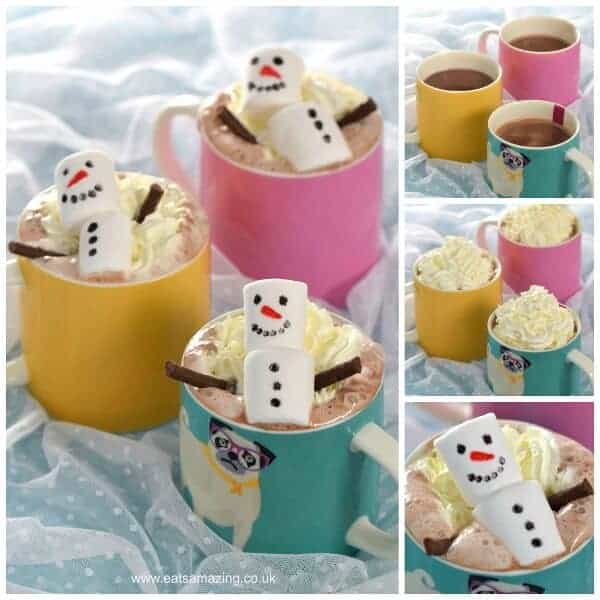 Super Cute North Pole Breakfast Idea - Snowman Hot Chocolate - fun Christmas drink from Eats Amazing UK