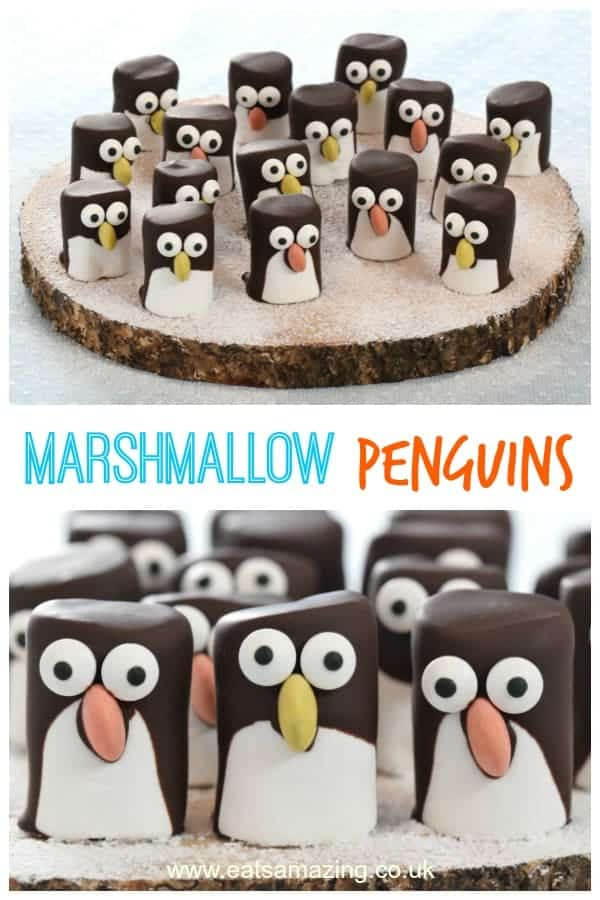These easy marshmallow penguins make great party food treats and are a cute Christmas food idea for kids - with video tutorial and full instructions #EatsAmazing #Christmasfood #funfood #kidsfood #foodart #cookingwithkids #penguin #marshmallow #Christmas #winter #winterfood #cutefood