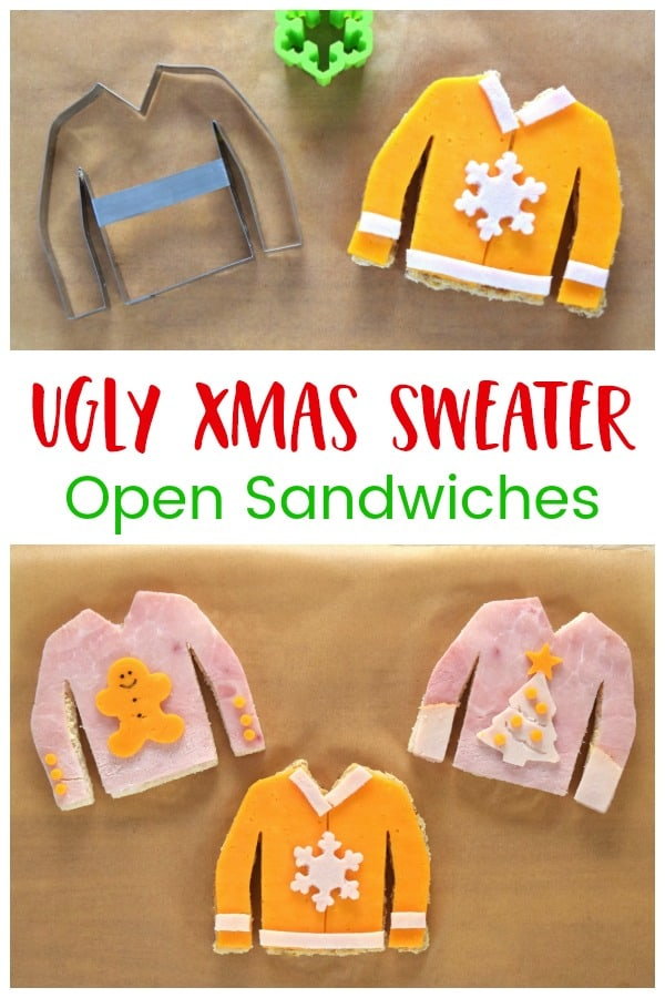 These fun Christmas Jumper sandwiches are perfect for an ugly sweater party - fun Christmas themed food for kids