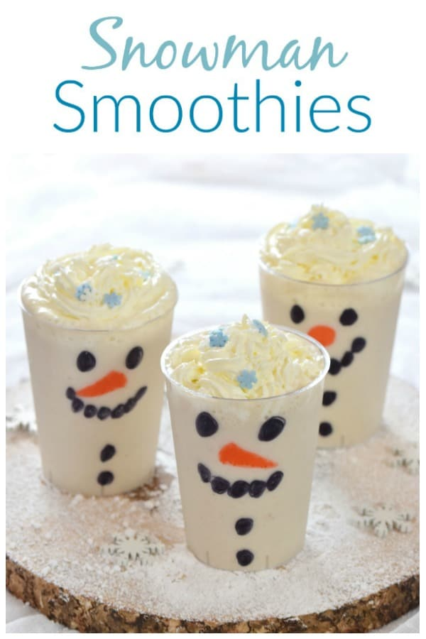 This easy snowman smoothies recipe makes a fun and healthy Christmas drink that kids will love - perfect for a North Pole Breakfast #EatsAmazing #Christmasfood #funfood #foodart #snowman #smoothies #Christmas  #winter #kidsfood #easyrecipe #healthykids #northpole