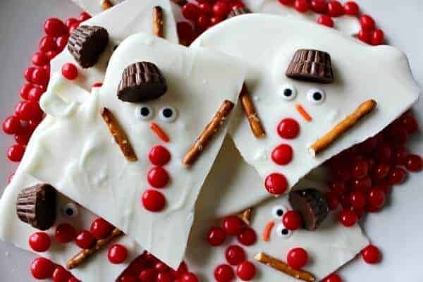 12 Fun Snowman Themed Foods for Kids - Melted Snowman Chocolate Bark from Princess Pinky Girl