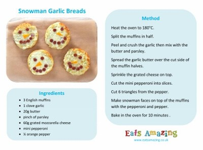 Cheesy Snowman Garlic Breads Recipe Card
