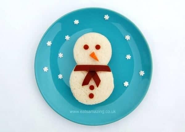 Fun food for kids - easy Snowman sandwich idea from Eats Amazing UK