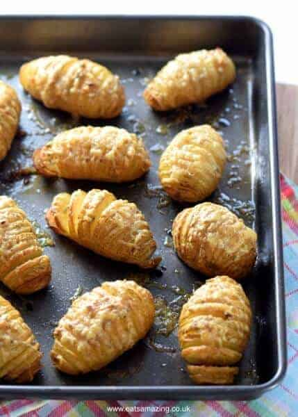 Mini Hasselback Potatoes with Garlic Rosemary and Gruyere Cheese - a delicious easy family friendly side dish recipe from Eats Amazing UK