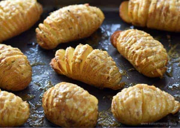 Mini Hasselback Potatoes with Garlic and Cheese - a delicious easy family friendly side dish from Eats Amazing UK