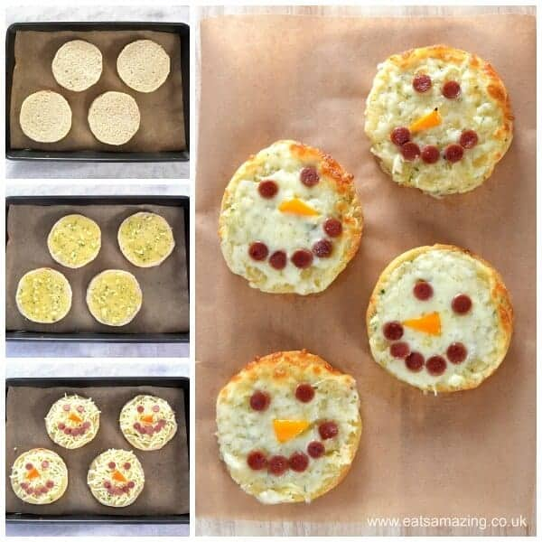 Quick and easy cheese garlic breads - this fun snowman food is perfect for a winter meal for kids or fun party food - Eats Amazing UK