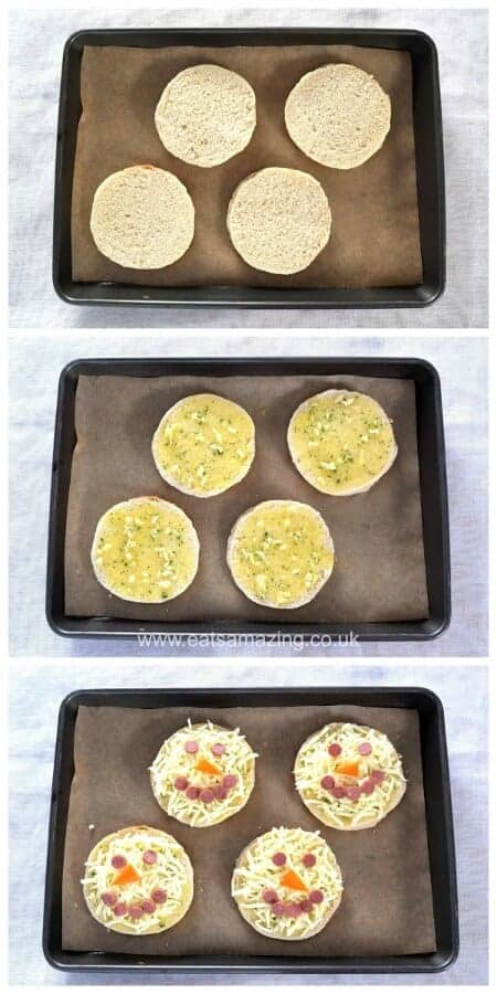 Quick and easy cheesy garlic breads recipe - this fun snowman food is perfect for a winter meal for kids or fun party food - Eats Amazing UK