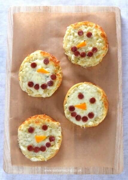 Quick and easy cheesy snowman garlic breads recipe - fun food for kids from Eats Amazing UK