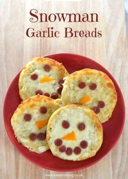 Quick and easy cheesy snowman garlic breads recipe - fun party food for kids from Eats Amazing UK
