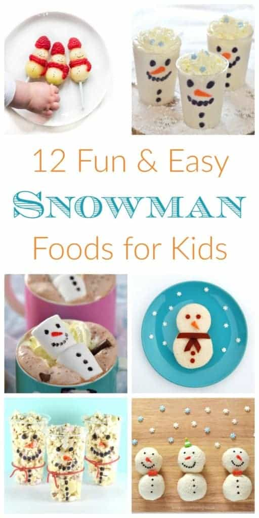 Snowman themed fun food ideas for kids - these cute ideas are perfect for party food lunch boxes snacks and treats - Eats Amazing UK