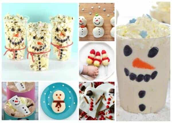 Snowman themed fun food ideas for kids - these cute ideas are perfect for party food lunch boxes snacks and treats - Eats Amazing