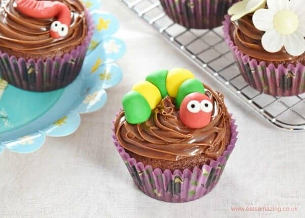 Cute and Easy Bug Themed Chocolate Cupcakes Recipe - perfect for kids parties - Eats Amazing UK - caterpillar cupcake