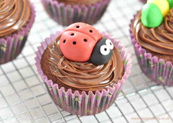 Cute and Easy Bug Themed Chocolate Cupcakes Recipe - perfect for kids parties - Eats Amazing UK - ladybird cupcake