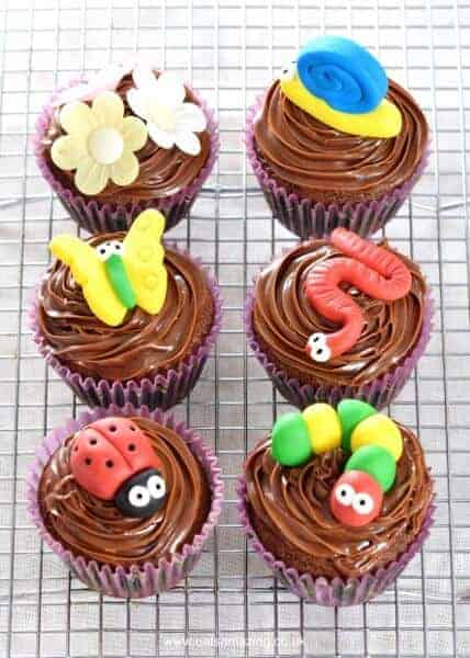 Cute and Easy Garden Bug Themed Chocolate Cupcakes Recipe - perfect for kids parties - Eats Amazing UK