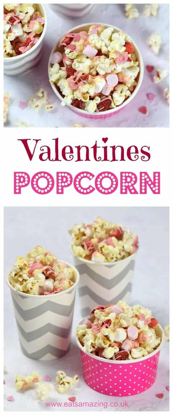Cute and easy Valentines popcorn recipe with white chocolate strawberries and marshmallows - fun valentines treat that kids can make - Eats Amazing UK