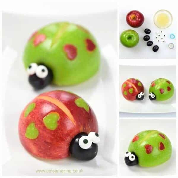 Cute and easy healthy Valentines food for kids - apple love bugs - Eats Amazing UK