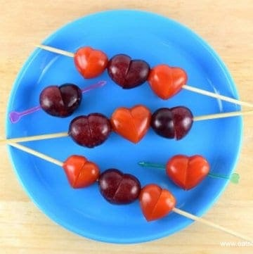 Easy tomato and grape hearts - cute and healthy valentines day food for kids - Eats Amazing UK