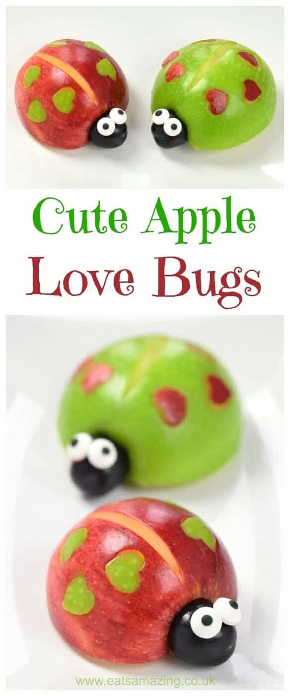 Healthy and cute snack for kids - apple love bugs - a healthy fun food idea that is perfect for Valentines Day - Eats Amazing UK #funfood #kidsfood #edibleart #foodart #ladybug #apples #healthykids #snacks #valentinesday #familyfood #cutefood #cuteness #healthysnacks #playwithyourfood #fruit