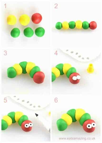 How to make an easy fondant catepillar - fun icing bug toppers for decorating cakes and cupcakes - Eats Amazing UK