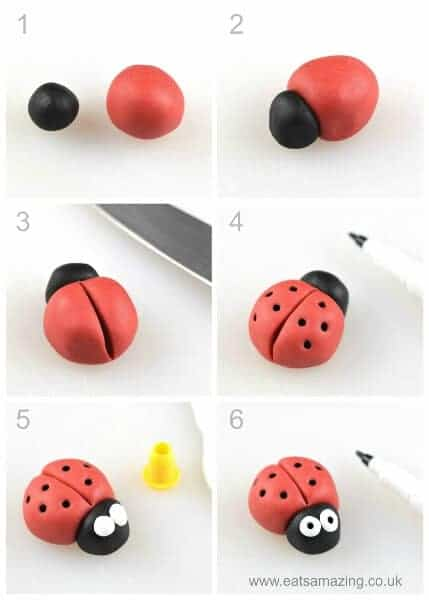 How to make an easy fondant ladybird - fun icing bug toppers for decorating cakes and cupcakes - Eats Amazing UK