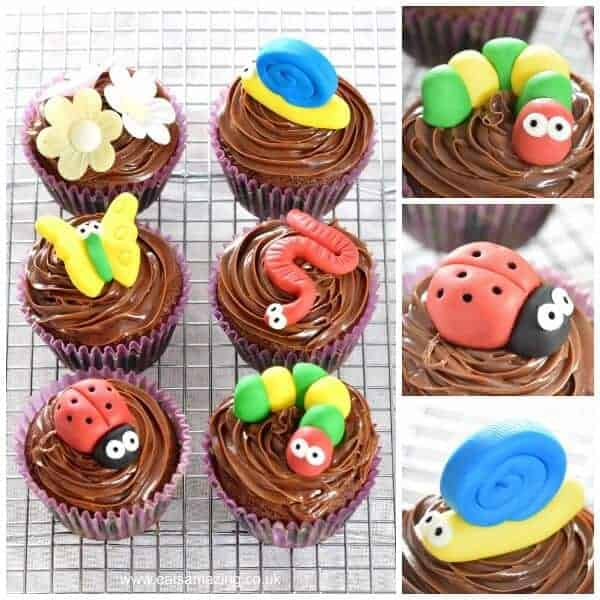 How to make cute and easy Bug Themed Chocolate Cupcakes - perfect for kids parties - Eats Amazing UK