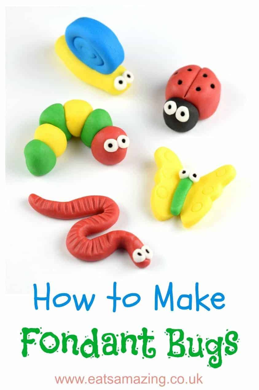 How to make easy fondant bugs for cake decorating and DIY cupcake toppers - with step by step photos and instructions #icing #fondant #fondantart #cakedecorating #cupcakes #bugs #insect #cutefood #foodart #gardentheme #edibleart #tutorial