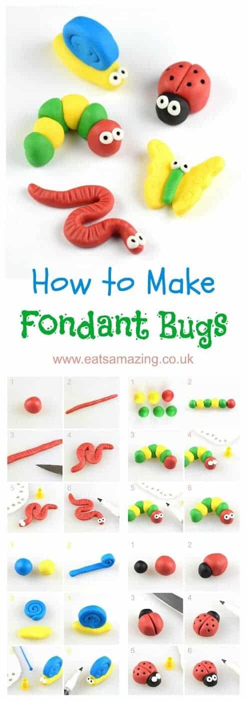 How to make easy fondant bugs for cake decorating and cupcake toppers - step by step photos from Eats Amazing UK #icing #fondant #fondantart #cakedecorating #cupcakes #bugs #insect #cutefood #foodart #gardentheme #edibleart #tutorial