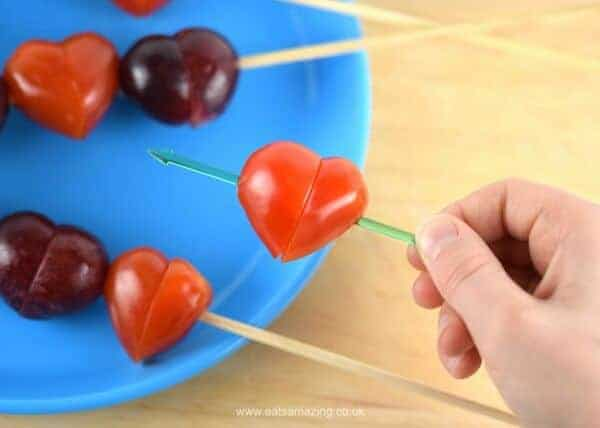 How to make easy grape and tomato hearts - cute and healthy valentines day food for kids - Eats Amazing UK