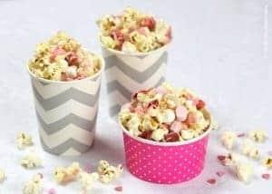 White Chocolate Strawberry Valentines Popcorn Recipe