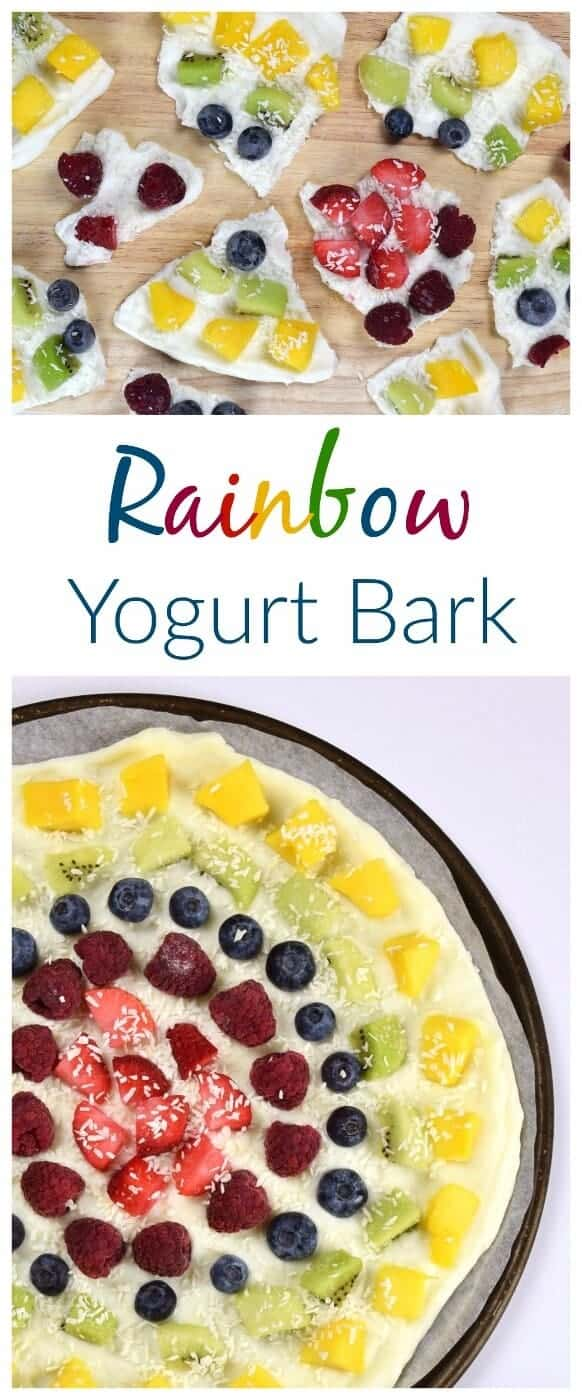 Rainbow fruit frozen yogurt bark recipe - fun and easy recipe for kids - perfect for healthy snacks and breakfast - Eats Amazing UK