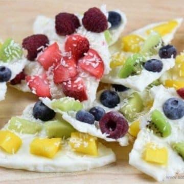 Rainbow Fruity Frozen Yogurt Bark Recipe