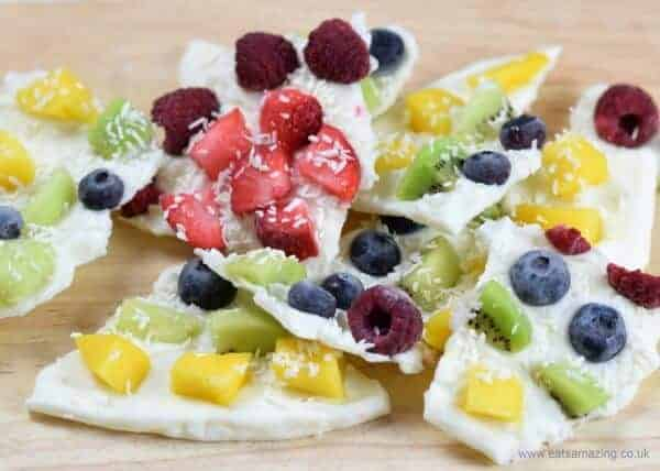 Rainbow fruit frozen yogurt bark recipe - quick and easy recipe for kids - perfect for healthy snacks and breakfast - Eats Amazing UK