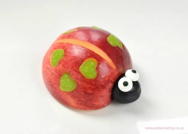 Valentines love bugs tutorial with video - fun food for kids from Eats Amazing UK - red apple bug