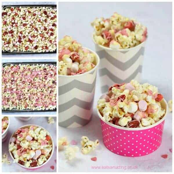 White chocolate strawberry and marshmallows Valentines popcorn recipe - fun Valentines day treat that kids can make - Eats Amazing UK