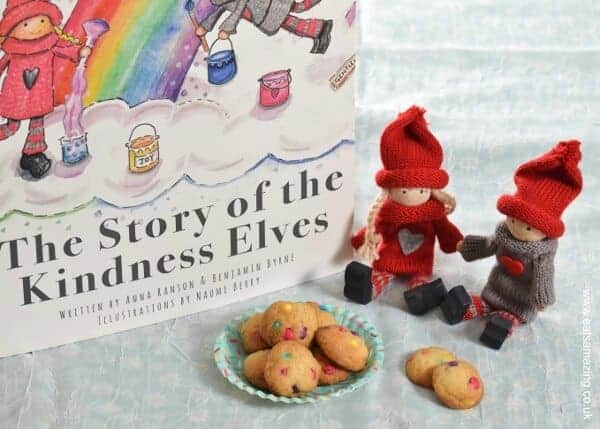 Fun food for kids - Elf sized mini rainbow cookies - easy recipe for kidsand kindness elves book review - Eats Amazing UK