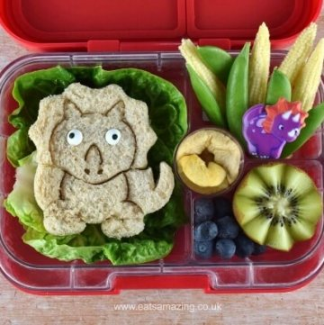How to make an easy dinosaur themed packed lunch with video tutorial - fun and healthy food for kids from Eats Amazing UK
