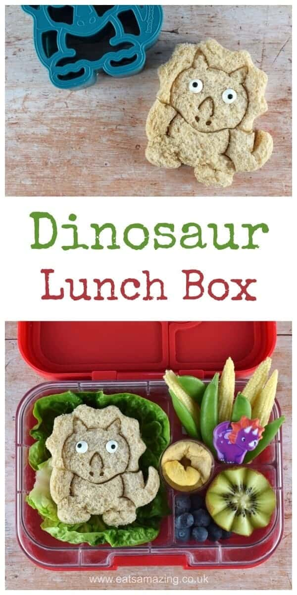 How to make an easy dinosaur themed bento packed lunch with video tutorial - healthy fun food for kids - Eats Amazing UK