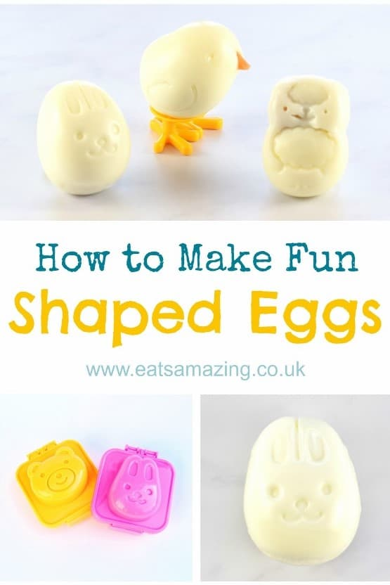 How to make cute and easy fun shaped boiled eggs using egg moulds - healthy fun Easter food for kids - with video tutorial #EatsAmazing #Easter #easterfood #eggs #eastereggs #funfood #kidsfood #foodforkids #foodart #ediblert #healthykids #cutefood #bento