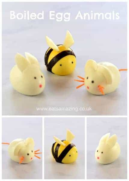 How to make cute boiled egg animals - fun food tutorial from Eats Amazing UK - perfect for the kids - fun Easter food