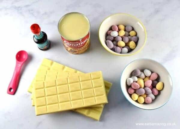 How to make white chocolate mini egg fudge - quick and easy fudge recipe from Eats Amazing UK - perfect for homemade Easter gifts