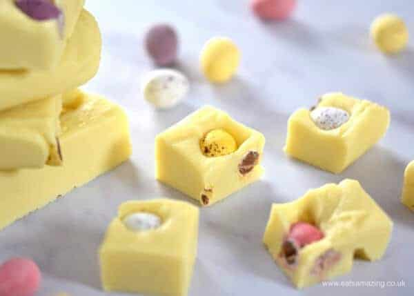 Mini Egg White Chocolate Fudge Recipe - 4 ingredients and 5 minutes to prepare - easy chocolate fudge - fun homemade gift idea for Easter from Eats Amazing UK