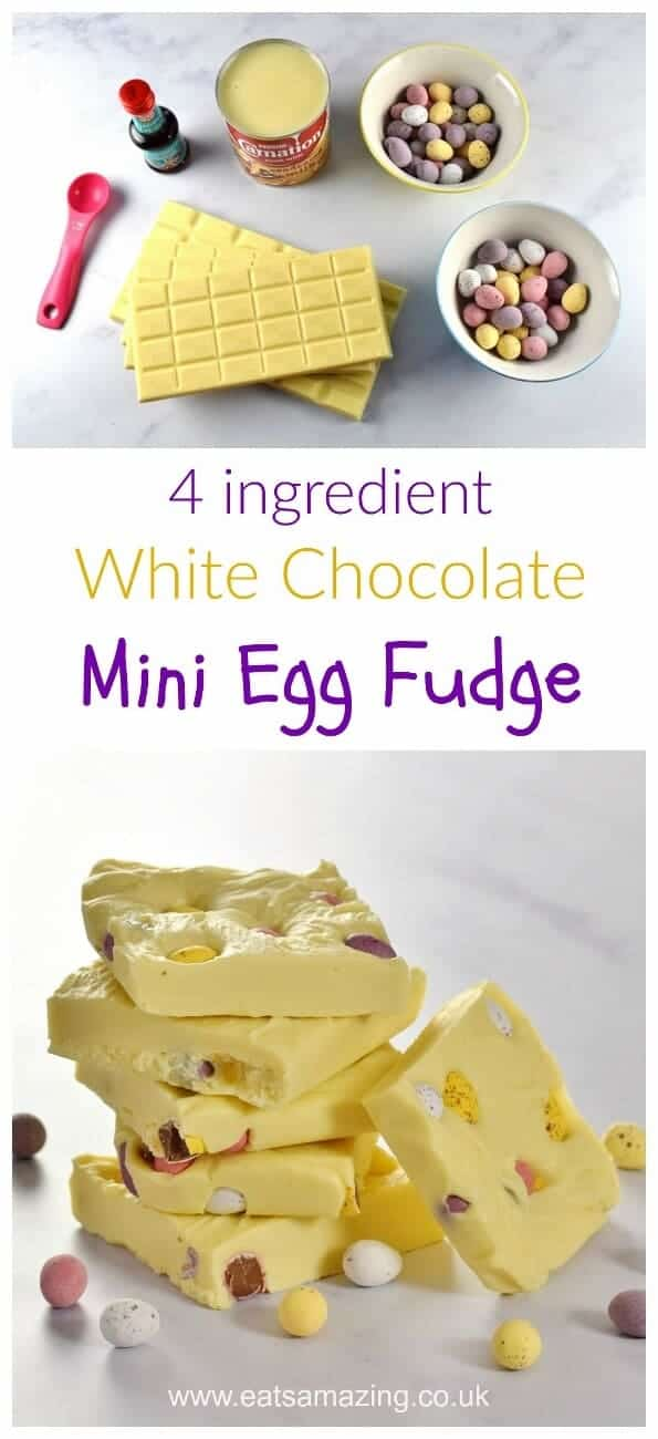 Mini Egg White Chocolate Fudge Recipe - just 4 ingredients and 5 minutes to prepare this easy chocolate fudge - fun homemade gift idea for Easter from Eats Amazing UK #Easter #fudge #2ingredients #easyrecipe #fudgerecipe #easterfood #easterrecipe #whitechocolate #minieggs #eastereggs #treat