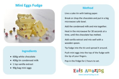 Mini Eggs Fudge Recipe Sheet for Kids