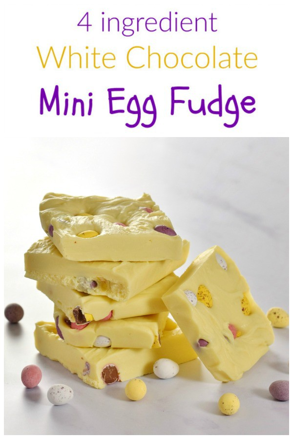 This Mini Egg White Chocolate Fudge recipe makes a fun homemade gift idea for Easter - just 4 ingredients and 5 minutes to prep this easy chocolate fudge #EatsAmazing #Easter #fudge #easterfood #4ingredients #easyrecipe #fudgerecipe #easterrecipe #whitechocolate #minieggs #eastereggs #giftidea