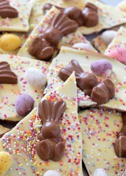 Easy double chocolate Easter bark - cute and easy recipe for kids - great for homemade Easter gifts - Eats Amazing UK