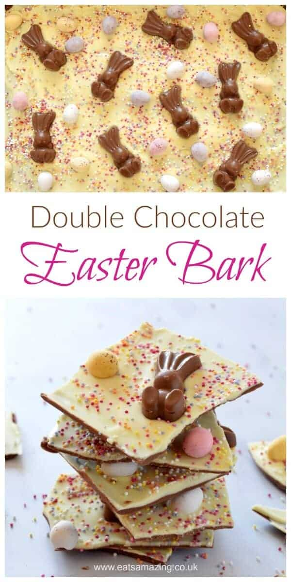 Quick and easy double chocolate Easter bark - fun and easy recipe for kids - great for homemade gifts - Eats Amazing UK #easter #easterbunny #easterrecipes #funfood #kidsfood #cookingwithkids #easyrecipe #chocolate #chocolatebark #giftideas #homemade